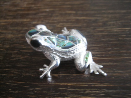 Prachtvoller Anhänger Brosche Frosch Kröte Unke 925er Silber vollplastisch 4x4cm