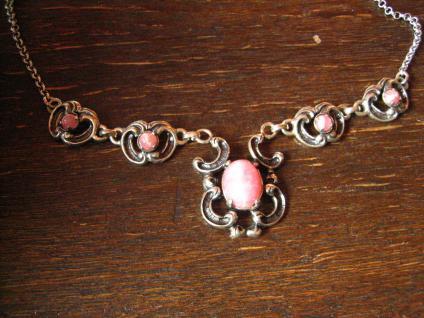 wunderschönes florales Trachten Dirndl Collier 835er Silber rosa Rhodochrosit
