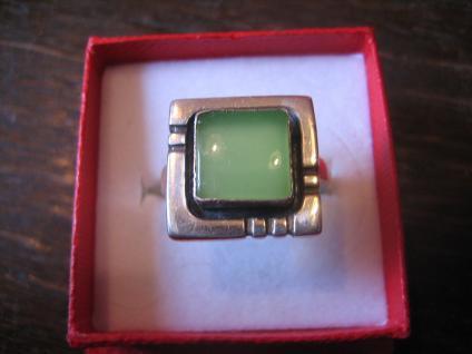 elegante Art Deco Designer Ring feine grüne Seladon Jade 925er Silber RG 56