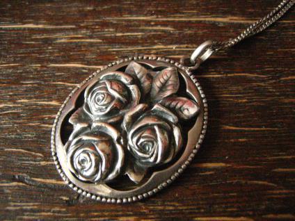 reizender Jugendstil Anhänger Rosen Rose an 925er Silber Kette Tracht Dirndl