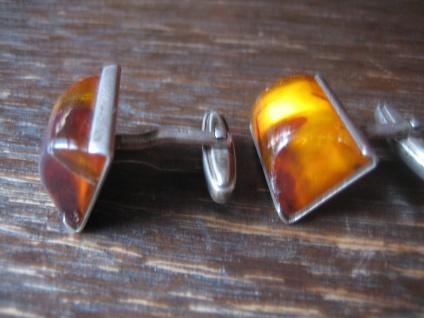 klassische Art Deco Bernstein Amber Manschettenknöpfe Cufflinks 835er Silber - Vorschau 3