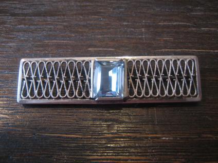 tolle Art Deco Brosche Krawattennadel aquamarin Stein 835er Silber Handarbeit - Vorschau 4