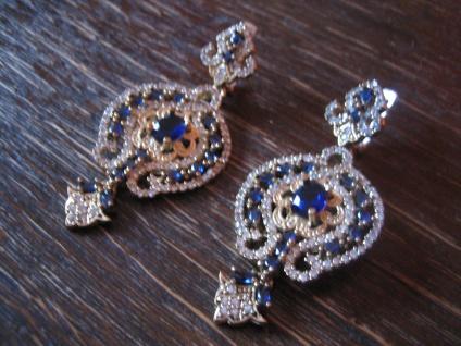 Kronjuwelen gesucht ? üppige Ohrringe Barock Stil 925er Silber gold saphir blau - Vorschau 2