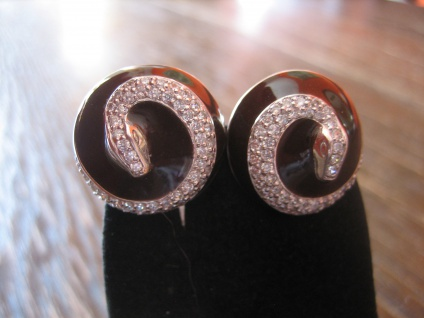 prächtige moderne Designer Ohrringe Schlange 925er Silber Emaille Zirkonia NEU