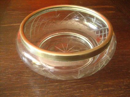 besonders große Glas Kristall Schale mit Silberrand toller Schliff aus England