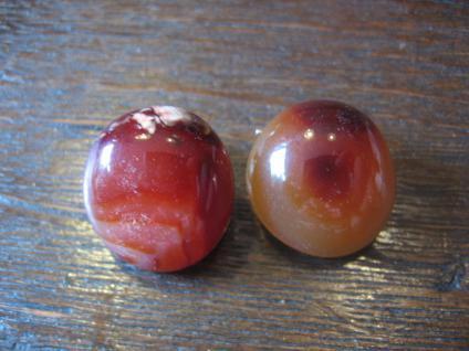 zeitlose große schöne Ohrringe Clips Ohrclips mit Carneol runde Boutons