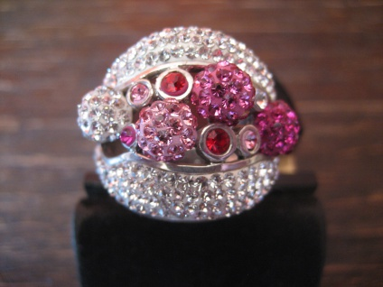 atemberaubender Statement Designer Ring 925er Silber Kugeln Pink Glitzer Pavée