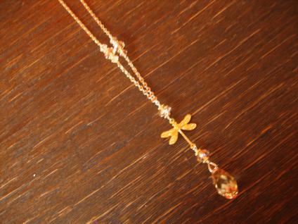süße Designer Collier Kette Libelle 925er Silber vergoldet Swarovski Elements - Vorschau 5