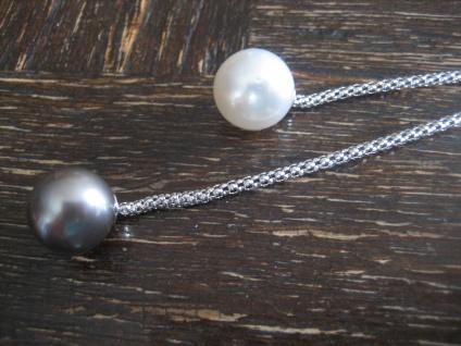 edles Tahitiperlen Collier Y-Kette Tahiti Südsee Perlen grau weiß 925er Silber