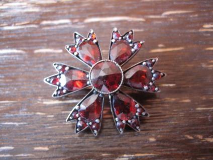 traumhafte Jugendstil Granat Brosche seltener Schliff Blüte Blume Stern rotgold