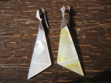 Vintage Ohrringe Hänger Chandeliers 925er Silber Perlmutt Dreiecke 7 cm lang