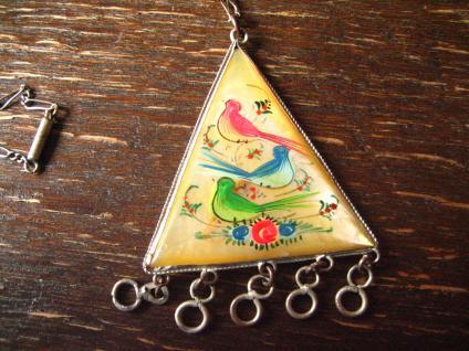 vintage Boho Ethno Anhänger persische Miniaturmalerei auf Perlmutt silber Kette - Vorschau 2
