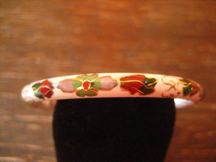 bezaubernder vintage Cloisonnée Emaille Kinder Armreif mit Blüten emailliert