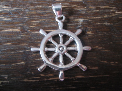 geschmackvoller Anhänger Steuerrad Segelschiff maitim Seemann 925er Silber NEU