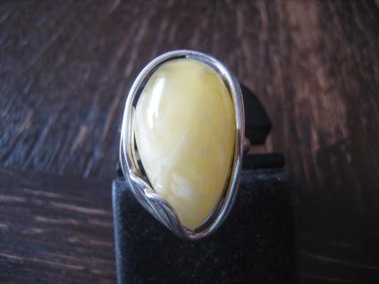 riesen Statement Ring 925er Silber Bernstein Butterscotch Amber Unikat RG 57 NEU