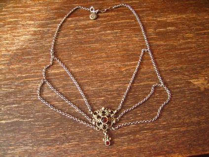 bezauberndes antikes Trachten Granat Armband 835er Silber Dirndl floral verziert - Vorschau 4