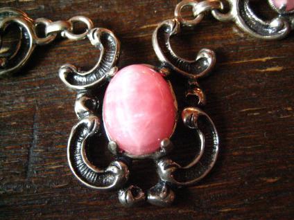 wunderschönes florales Trachten Dirndl Collier 835er Silber rosa Rhodochrosit - Vorschau 2