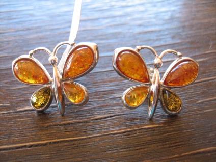 zauberhafte Bernstein Ohrringe Stecker Schmetterling Schmetterlinge 925er Silber