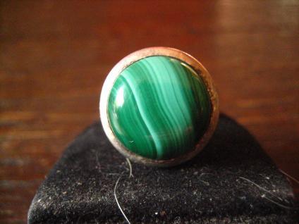 prächtiger Vintage Designer Ring Malachit strahlend grün 925er Silber RG 58 - Vorschau 2