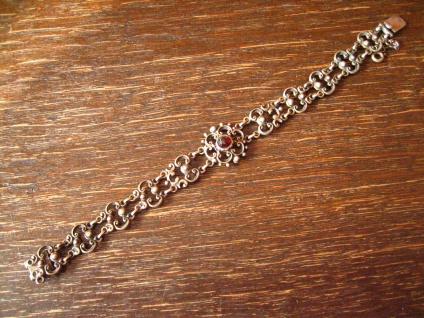 bezauberndes antikes Trachten Granat Armband 835er Silber Dirndl floral verziert - Vorschau 1