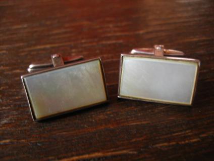 zeitlos elegante Art Deco Manschettenknöpfe 835er Silber Perlmutt Einlage