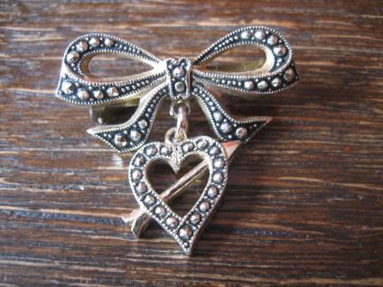 süße Vintage Herz Brosche getroffenes Herz Pfeil Schleife Amor für Verliebte - Vorschau 1