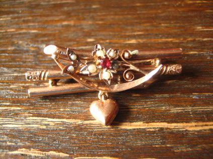 romantische Jugendstil Brosche 333er Rotgold mit Herz und Perlen Blümchen 8 ct