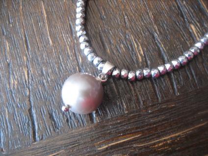 Designer Anhänger Perle Perlencollier Edison Perle grau 12 mm an Kette AAAA NEU