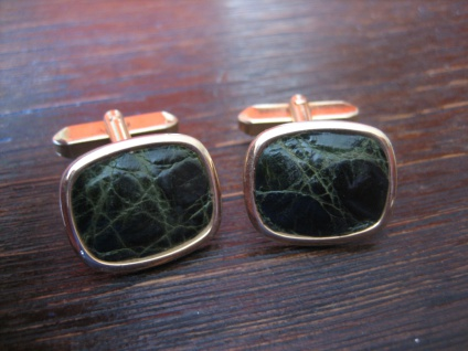 prächtige Vintage Manschettenknöpfe echtes Leder geprägt Kroko Muster grün gold