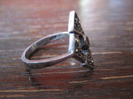feiner Art Deco Markasit Ring Schiffchenring 925er Silber Markasiten elegant - Vorschau 4