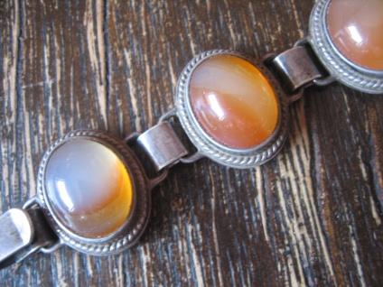 prächtiges Art Deco Armband 835er Silber 9 x Carneol aufwändig gefasst 19, 5 cm - Vorschau 2