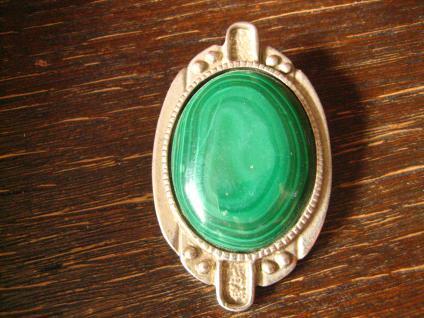 prächtige große Malachit vintage Designer Brosche intensiv grün silber