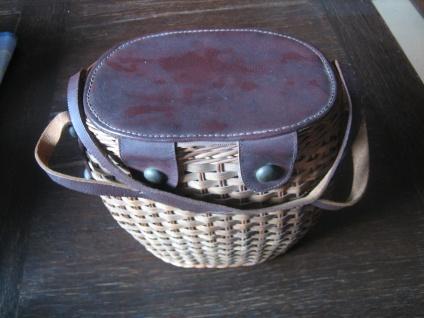 ausgefallene Vintage Korbtasche Korb als Tasche 60er Jahre Sixties Dirndl Körbchen - Vorschau 3