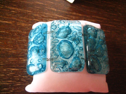 elegantes breites Armband 5 cm türkis NEU Kunsthandwerk Arts & Crafts Unikat - Vorschau 1