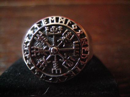 maritimer Herrenring Ring Wikinger Kompass Celtic 925er Silber neu et Nox RG 64 - Vorschau 2