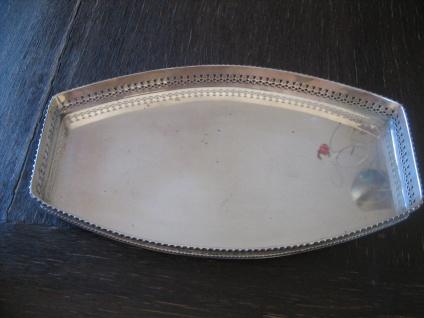 sehr edles Silbertablett Galerietablett Tablett silber pl tolle Form 35 cm