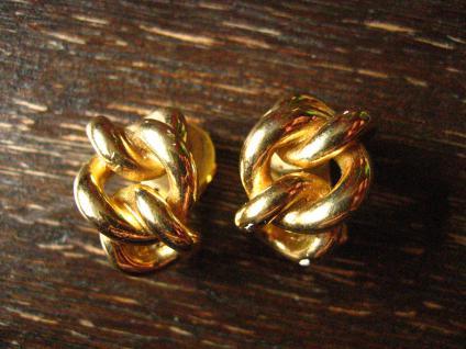 extravagante Vintage Designer Ohrringe Clips gold Henkel & Grossé Halbcreolen