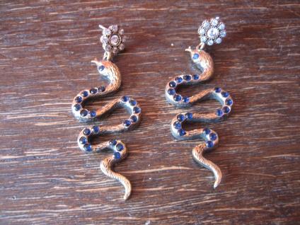 Kronjuwelen gesucht ? prächtige Ohrringe Hänger Schlange 925er Silber vergoldet
