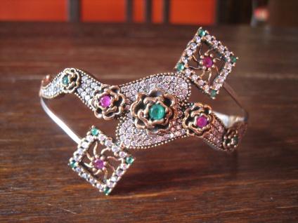 Kronjuwelen gesucht ? prunkvoller Zirkonia Smaragd Rubin Armreif 925er Silber