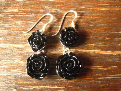 ausgefallene dekorative Rosen Ohrringe Hänger schwarze Rose 925er Silber et Nox