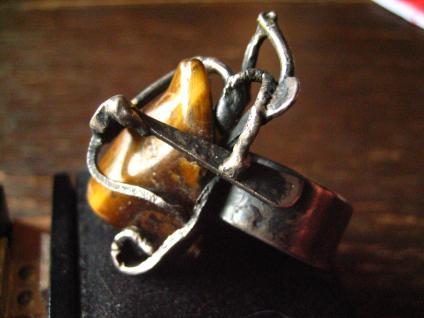 extravaganter vintage Designer Ring 925er Silber Tigerauge Unikat Modernist