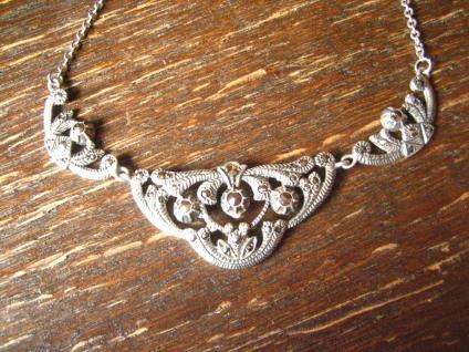 bezauberndes Art Deco Markasit Collier 3teilig Blüten Verzierung 835er Silber