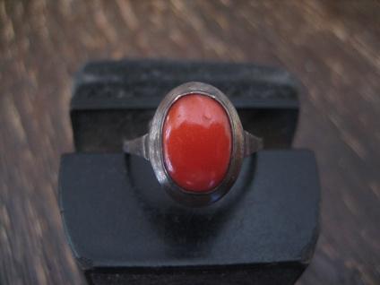 besonders zierlicher Art Deco Ring echte Rote Koralle 835er Silber RG 51 16 mm