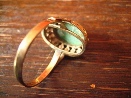 herrlicher antiker Türkisring Ring Türkis 333er Gold wunderschön verziert - Vorschau 5