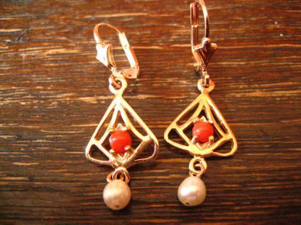 reizende Jugendstil Ohrringe Hänger 925er Silber Roségold Rote Koralle Perle NEU