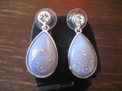 prächtige moderne Ohrringe Hänger 925er Silber Perlmutt Gravur toller Schimmer