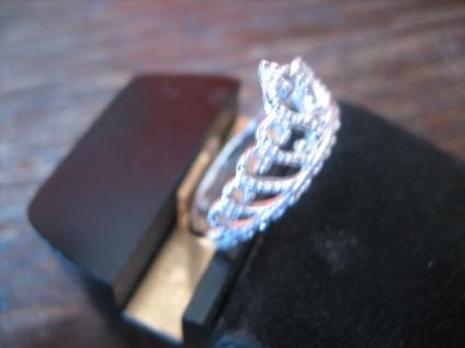 anmutiger Ring Krone Krönchen Tiara 925er Silber wunderschön neu RG 60 19 mm - Vorschau 3