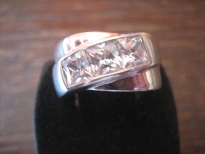 sehr edler moderner Designer Ring 925er Silber cubic Zirkonia Bandring RG 58