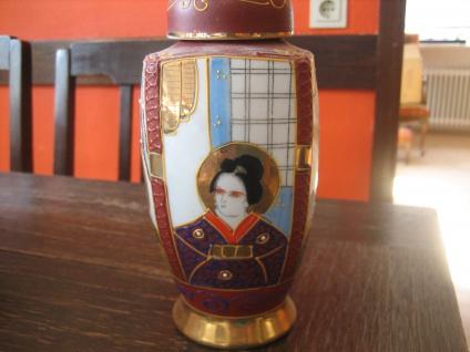 prächtiger Tea Caddy Teedose Teeurne Geisha Handbemalt Japan 60er Jahre