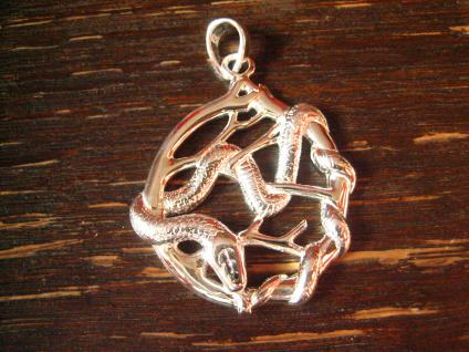 großer Schlangen Anhänger Krafttier Schlange Ast herabkriechend 925er Silber neu